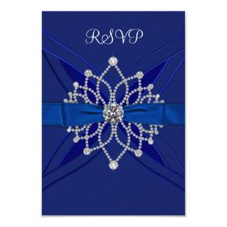 "Diamonds Royal Blue Sweet Sixteen Birthday RSVP 3.5"" X 5"" Invitation Card"
