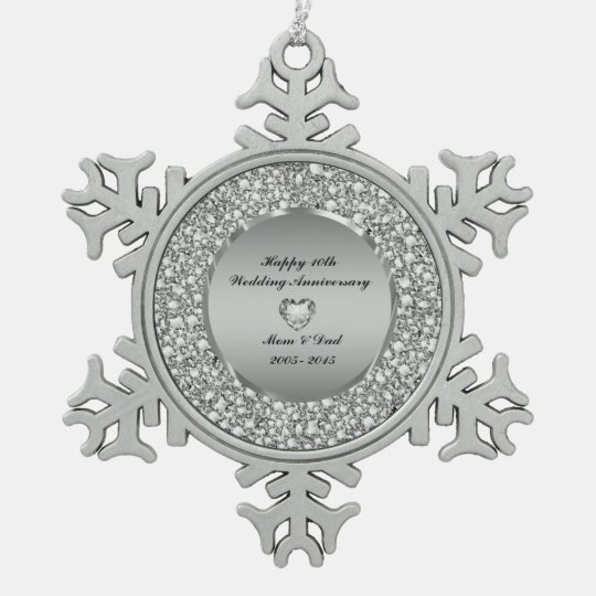 Diamonds & Silver 10th Wedding Anniversary Pewter Snowflake Ornament