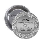Diamonds & Silver 25th Wedding Anniversary 2 2 Inch Round Button