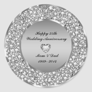 Diamonds & Silver 25th Wedding Anniversary Classic Round Sticker