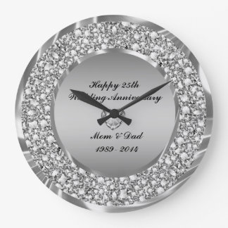 Diamonds & Silver 25th Wedding Anniversary Large Clock