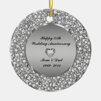 Diamonds & Silver 25th Wedding Anniversary Double-Sided Ceramic Round Christmas Ornament