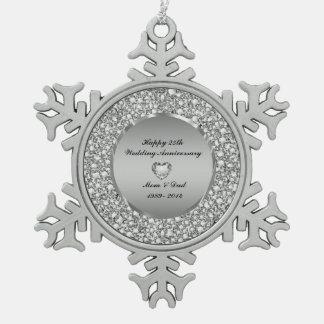 Diamonds & Silver 25th Wedding Anniversary Pewter Snowflake Ornament