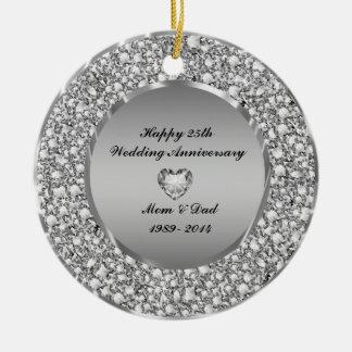 Diamonds & Silver 25th Wedding Anniversary Round Ceramic Ornament
