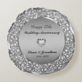 Diamonds & Silver 25th Wedding Anniversary Round Pillow