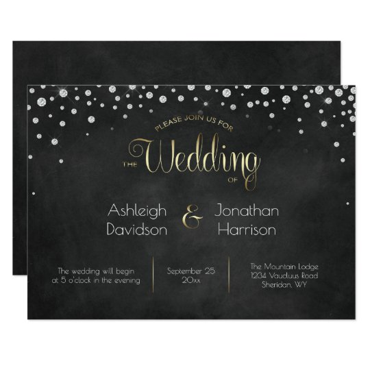 Diamonds Silver and Gold Chalkboard Wedding | Card