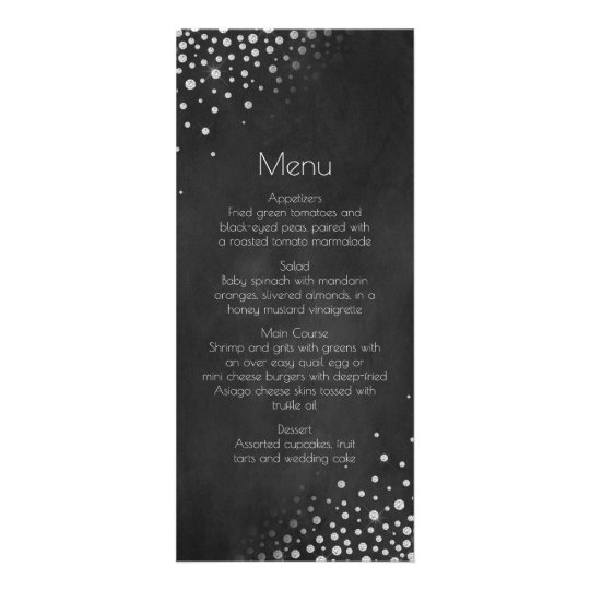 Diamonds Silver Chalkboard Menu |