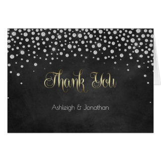 Diamonds Silver Gold Chalkboard Thank You | Card