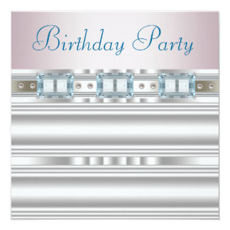 """Diamonds Silver Pink Baby Blue Birthday Party 5.25"""" Square Invitation Card"""