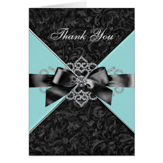 Diamonds Teal Blue Black Damask Thank You Cards