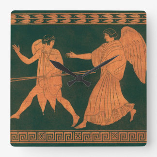 Diana and an Angel, Vintage Roman Mythology Square Wall Clock