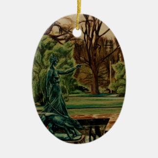 Diana Artemis Sculpture In Gardens Ceramic Oval Ornament