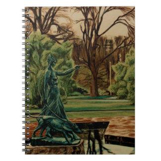 Diana Artemis Sculpture In Gardens Spiral Notebook