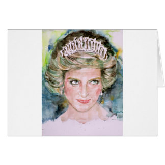 DIANA - PRINCESS OF WALES - watercolor portrait.3 Card