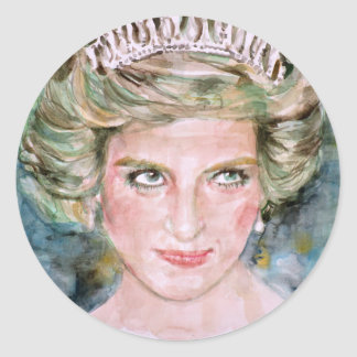 DIANA - PRINCESS OF WALES - watercolor portrait.3 Classic Round Sticker