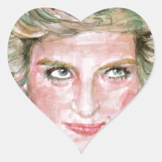 DIANA - PRINCESS OF WALES - watercolor portrait.3 Heart Sticker