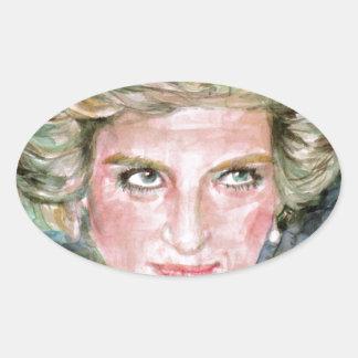 DIANA - PRINCESS OF WALES - watercolor portrait.3 Oval Sticker