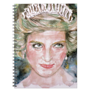 DIANA - PRINCESS OF WALES - watercolor portrait.3 Spiral Notebook