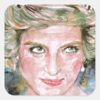 DIANA - PRINCESS OF WALES - watercolor portrait.3 Square Sticker