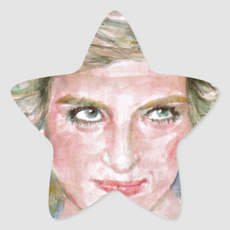 DIANA - PRINCESS OF WALES - watercolor portrait.3 Star Sticker