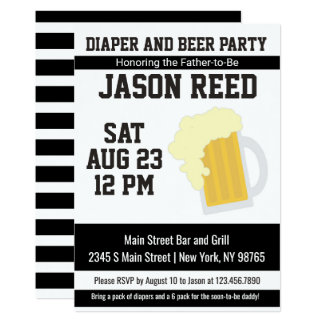 Diaper and Beer Baby Shower Invitation