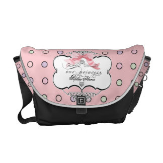 Diaper Bag - French Bow Dot Swirl Pattern Pink Commuter Bags