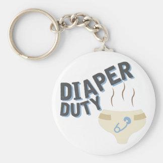 Diaper Duty Basic Round Button Keychain