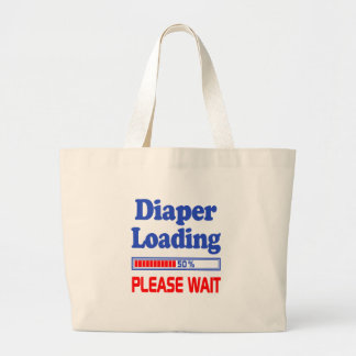 diaper loading please wait large tote bag