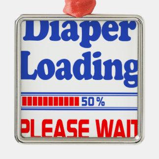 diaper loading please wait Silver-Colored square ornament