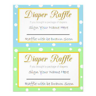 Diaper Raffle Baby Shower Game Blue and Green Flyer
