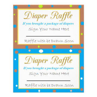 Diaper Raffle Baby Shower Game Blue, Green Brown Flyer