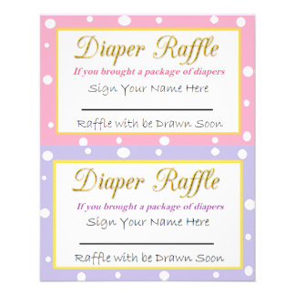 Diaper Raffle Baby Shower Game Pink and Purple Flyer