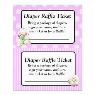 Diaper Raffle Baby Shower Game, Purple Bow Shabby Full Color Flyer