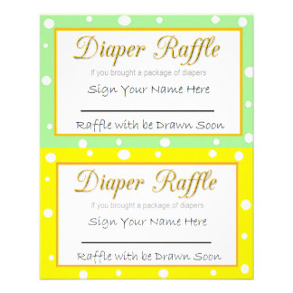 Diaper Raffle Baby Shower Game Yellow and Green Flyer