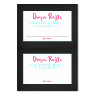 Diaper Raffle Card Chalkboard Baby Shower Ticket Table Cards