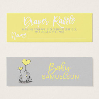 DIAPER RAFFLE Elephant Yellow Grey Baby Shower Mini Business Card