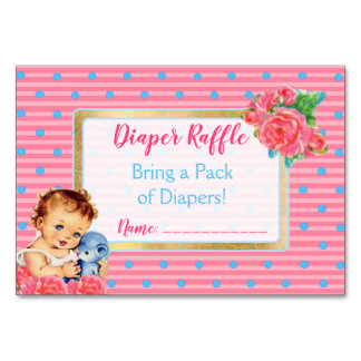 Diaper Raffle for Baby Vintage Girl and Roses Card