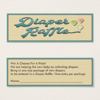 Diaper Raffle Mom To Be With Hearts Mini Business Card