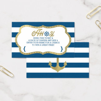 Diaper Raffle Ticket, Ahoy, Nautical, Faux Gold Business Card