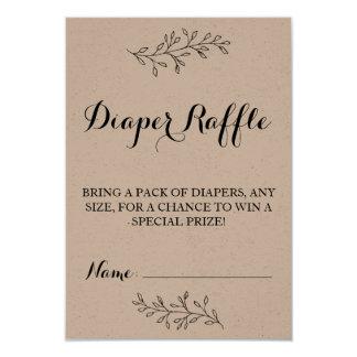 Diaper Raffle ticket rustic Kraft Baby Shower Card