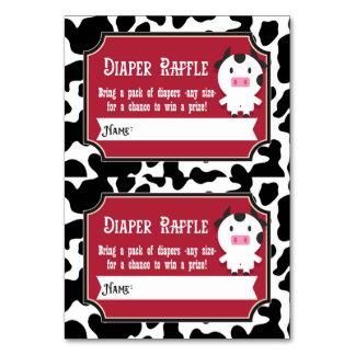 Diaper Raffle Tickets - 2 per card - Farm Animals Table Card