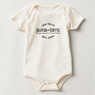 Diapers and Coffee Ironic Funny Retro Restaurant Baby Bodysuit