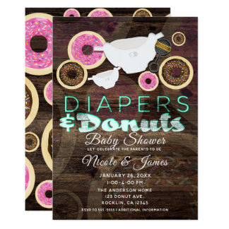 Diapers & Donuts Rustic Wood Party Baby Shower Card