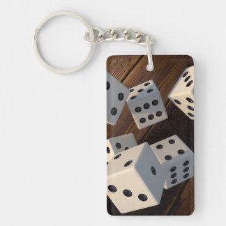 Dice 3D wood Double-Sided Rectangular Acrylic Keychain