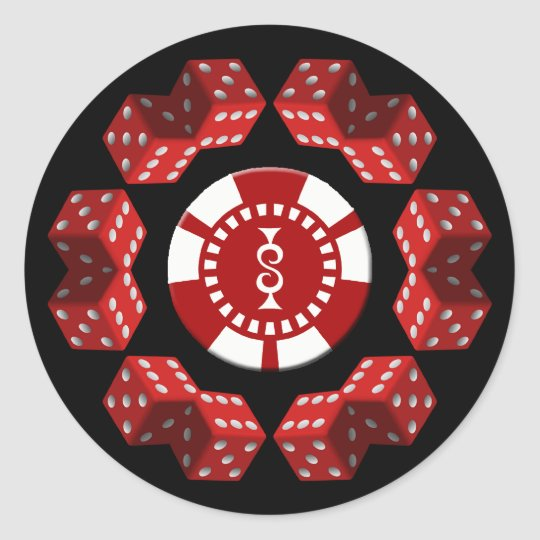 DICE AND POKER CHIP CLASSIC ROUND STICKER
