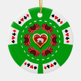 DICE AND ROYAL FLUSH POKER CHIP ORNAMENT