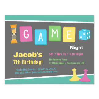 Dice Board Game Night Birthday Party Invitations