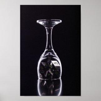 Dice in Glass poster (Black2) photopaper