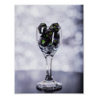 Dice in Glass poster (Silver) photopaper