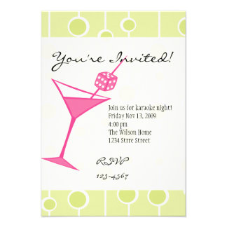 Dice Martini Personalized Invites